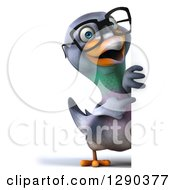 Clipart Of A 3d Full Length Happy Bespectacled Pigeon Pointing Around A Sign Royalty Free Illustration