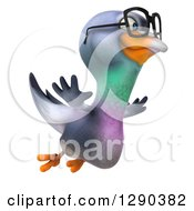 Clipart Of A 3d Happy Bespectacled Pigeon Flying To The Right Royalty Free Illustration