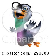 Clipart Of A 3d Happy Bespectacled Pigeon Flying To The Left Royalty Free Illustration