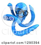 Clipart Of A 3d Happy Bespectacled Blue Octopus Twisting Royalty Free Illustration