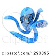 Clipart Of A 3d Happy Bespectacled Blue Octopus Twisting 2 Royalty Free Illustration
