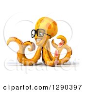 Clipart Of A 3d Bespectacled Orange Octopus Facing Left And Pointing Royalty Free Illustration