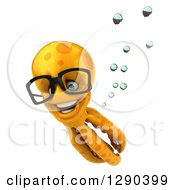 Clipart Of A 3d Happy Bespectacled Orange Octopus Swimming 2 Royalty Free Illustration