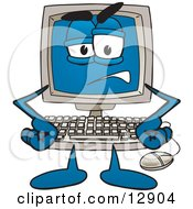 Clipart Picture Of A Frustrated Desktop Computer Mascot Cartoon Character by Toons4Biz