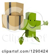Clipart Of A 3d Happy Green Holistic Cross Character Facing Slightly Right Jumping And Holding Boxes Royalty Free Illustration