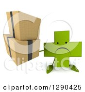 Clipart Of A 3d Unhappy Green Holistic Cross Character Holding Up Boxes Royalty Free Illustration