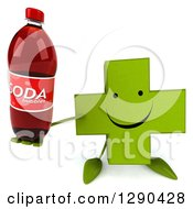Clipart Of A 3d Happy Green Holistic Cross Character Holding Up A Soda Bottle Royalty Free Illustration