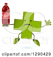 Clipart Of A 3d Unhappy Green Holistic Cross Character Jumping And Holding A Soda Bottle Royalty Free Illustration