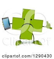 Clipart Of A 3d Unhappy Green Holistic Cross Character Holding A Smart Cell Phone And Gesturing Call Me Royalty Free Illustration