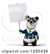Clipart Of A 3d Bespectacled Business Panda Holding Up A Blank Sign Royalty Free Illustration