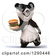 Clipart Of A 3d Panda Wearing Sunglasses And Walking With A Double Cheeseburger Royalty Free Illustration