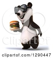 Clipart Of A 3d Panda Wearing Sunglasses And Walking To The Left With A Double Cheeseburger Royalty Free Illustration