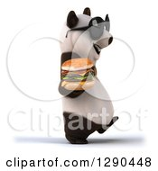 Clipart Of A 3d Panda Wearing Sunglasses And Walking To The Right With A Double Cheeseburger Royalty Free Illustration