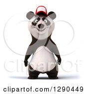 Clipart Of A 3d Panda Wearing A Baseball Cap Royalty Free Illustration