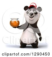Clipart Of A 3d Panda Wearing A Baseball Cap And Holding A Honey Jar Royalty Free Illustration