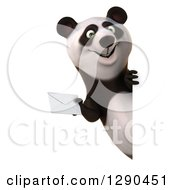 Clipart Of A 3d Panda Holding An Envelope Around A Sign Royalty Free Illustration