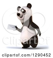 Clipart Of A 3d Panda Walking To The Left And Holding An Envelope Royalty Free Illustration