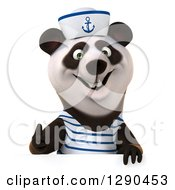 Clipart Of A 3d Panda Sailor Holding A Thumb Up Over A Sign Royalty Free Illustration
