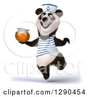 Clipart Of A 3d Panda Sailor Jumping And Holding A Honey Jar Royalty Free Illustration