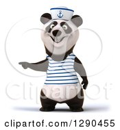 Clipart Of A 3d Panda Sailor Pointing To The Left Royalty Free Illustration