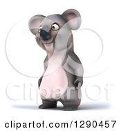 Clipart Of A 3d Happy Koala Facing Slightly Left Royalty Free Illustration