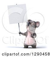 Clipart Of A 3d Happy Koala Holding And Pointing To A Blank Sign Royalty Free Illustration