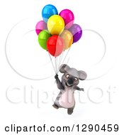 Clipart Of A 3d Happy Koala Floating With Party Balloons Royalty Free Illustration