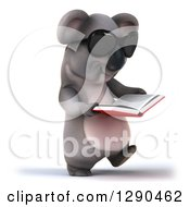 Clipart Of A 3d Happy Koala Wearing Sunglasses Walking And Reading A Book Royalty Free Illustration