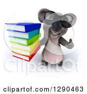 Clipart Of A 3d Happy Koala Wearing Sunglasses Holding Up A Thumb And Stack Of Books Royalty Free Illustration