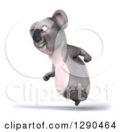 Clipart Of A 3d Happy Koala Running To The Left Royalty Free Illustration