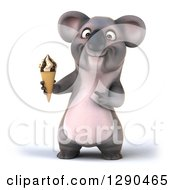 Clipart Of A 3d Happy Koala Holding And Pointing To A Waffle Ice Cream Cone Royalty Free Illustration