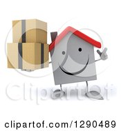 Clipart Of A 3d Happy White House Character Holding Up A Finger And Boxes Royalty Free Illustration