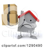 Clipart Of A 3d Unhappy White House Character Holding And Pointing To Boxes Royalty Free Illustration