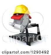 Clipart Of A 3d Happy White House Contractor Character Running On A Treadmill With Blueprints Royalty Free Illustration