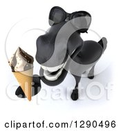 Clipart Of A 3d Happy Black Horse Wearing Sunglasses And Holding Up A Waffle Ice Cream Cone Royalty Free Illustration