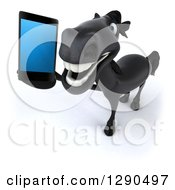 Clipart Of A 3d Happy Black Horse Looking Up And Talking On A Smart Cell Phone Royalty Free Illustration