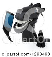 Clipart Of A 3d Happy Black Horse Talking On A Smart Cell Phone Over A Sign Royalty Free Illustration