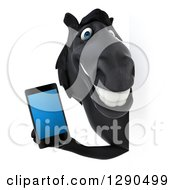 Clipart Of A 3d Happy Black Horse Holding A Smart Cell Phone Around A Sign Royalty Free Illustration