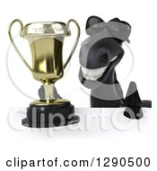 Clipart Of A 3d Happy Black Horse Wearing Sunglasses And Holding A Trophy Over A Sign Royalty Free Illustration
