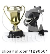 Clipart Of A 3d Happy Black Horse Holding A Trophy Over A Sign Royalty Free Illustration