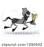 Clipart Of A 3d Happy Black Horse Running To The Right With A Trophy Royalty Free Illustration