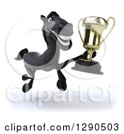 Clipart Of A 3d Happy Black Horse Running Slightly To The Right With A Trophy Royalty Free Illustration