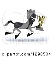 Clipart Of A 3d Happy Black Horse Wearing Sunglasses And Running To The Right With A Trophy Royalty Free Illustration