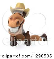 Clipart Of A 3d Happy Brown Cowboy Horse Smiling Over A Sign Royalty Free Illustration by Julos