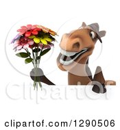 Clipart Of A 3d Happy Brown Horse Holding A Bouquet Of Flowers Over A Sign Royalty Free Illustration