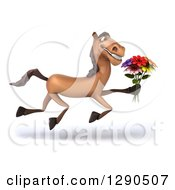 3d Happy Brown Horse Running To The Right And Holding A Bouquet Of Flowers