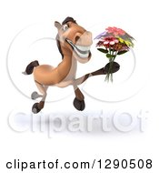 3d Happy Brown Horse Running Slightly To The Right And Holding A Bouquet Of Flowers