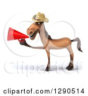 Clipart Of A 3d Happy Brown Cowboy Horse Facing Left And Using A Megaphone Royalty Free Illustration by Julos