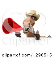 Clipart Of A 3d Happy Brown Cowboy Horse Using A Megaphone Over A Sign Royalty Free Illustration by Julos
