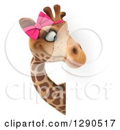 Clipart Of A 3d Female Giraffe Looking Around A Sign Royalty Free Illustration by Julos